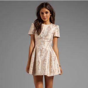 Cameo Star of Wonder Jacquard Dress Rose Gold  XS